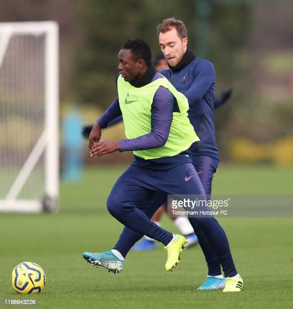 Victor Wanyama and Christian Eriksen of Tottenham Hotspur during the Tottenham Hotspur training session at Tottenham Hotspur Training Centre on...