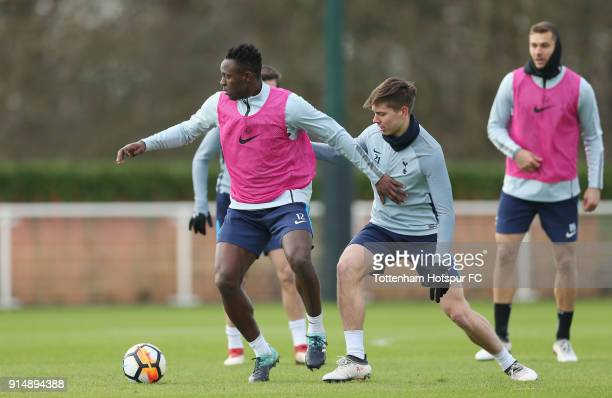 Victor Wanyama and Juan Foyth of Tottenham Hotspur during the Tottenham Hotspur training session at Tottenham Hotspur Training Centre on February 6...