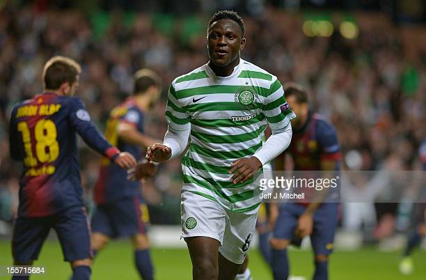 Victor Wanyama of Celtic celebrates after scoring during the UEFA Champions League Group G match between Celtic and Barcelona at Celtic Park on...