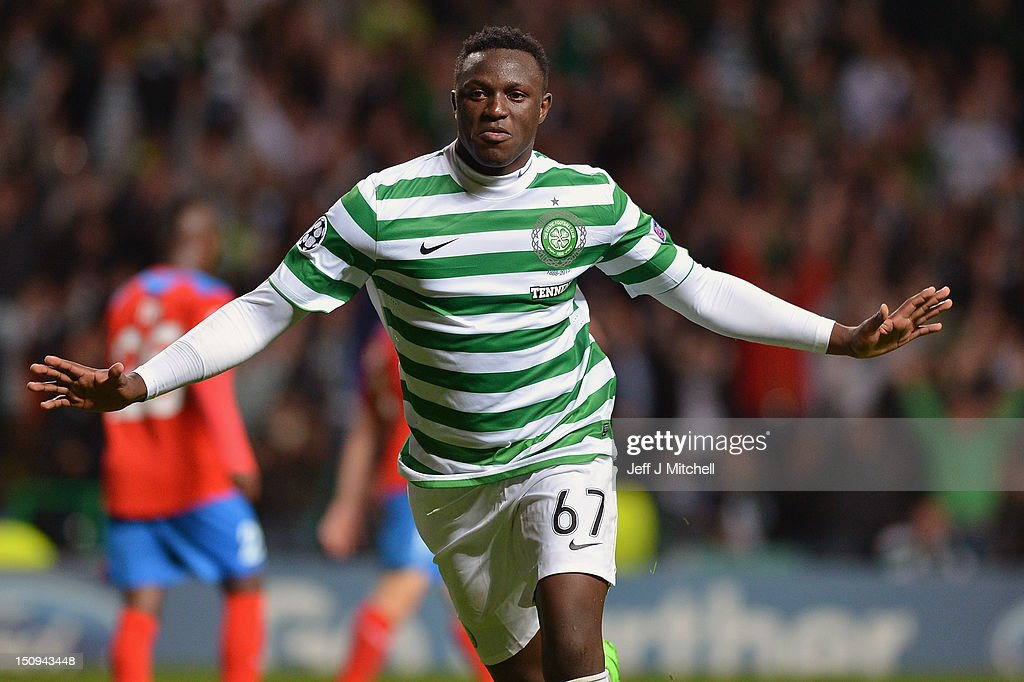 Victor Wanyama of Celtic celebrates after scoring the 2nd goal during the UEFA Champions League Play Off Round between Celtic and Helsingborgs IF at Celtic Park on August 29, 2012 in Glasgow, Scotland.