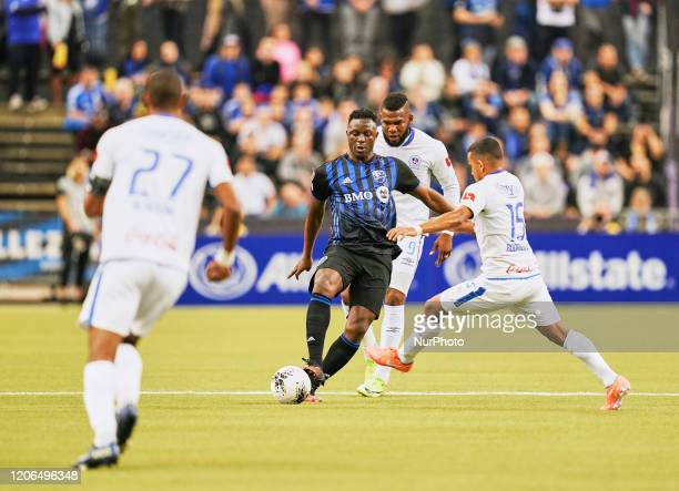 Victor Wanyama of Montreal Impact during the CONCACAF Champions League quarterfinal match between Montreal Impact and CD Olimpia at Olympic Stadium,...