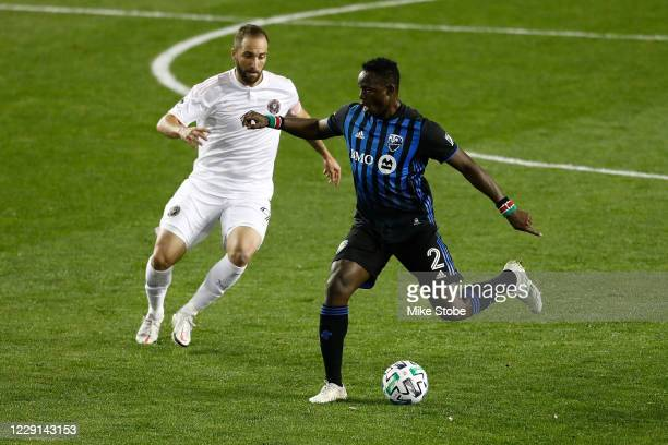 Victor Wanyama of Montreal Impact in action against Gonzalo Higuain of Inter Miami at Red Bull Arena on October 17, 2020 in Harrison, New Jersey....