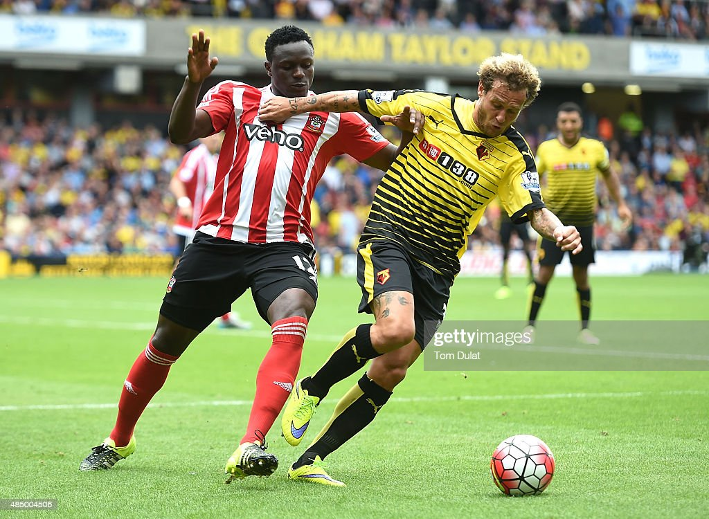 Victor Wanyama of Southampton and Alessandro Diamanti of Watford in action during the Barclays premier League match between Watford and Southampton at Vicarage Road on August 23, 2015 in Watford, England.