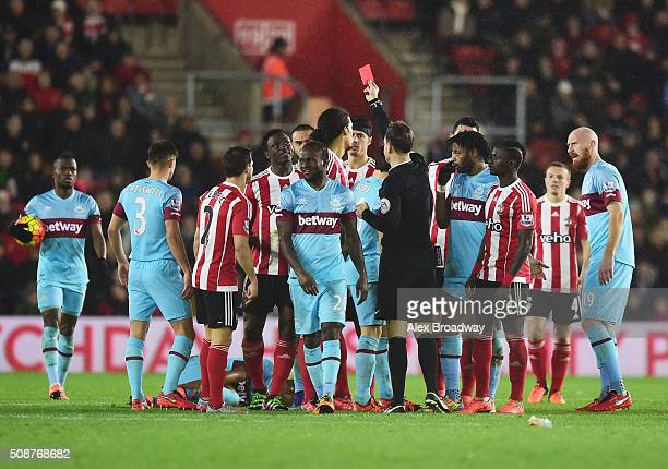 Victor Wanyama of Southampton is shown a red card and is sent off by referee Mark Clattenburg during the Barclays Premier League match between...