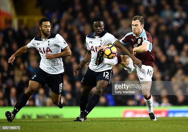 Victor Wanyama of Tottenham Hotspur and Ashley Barnes of Burnley battle for possession during the Premier League match between Tottenham Hotspur and...