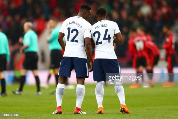 Victor Wanyama of Tottenham Hotspur and Serge Aurier of Tottenham Hotspur speak during the Premier League match between AFC Bournemouth and Tottenham...