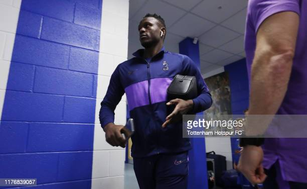Victor Wanyama of Tottenham Hotspur arrives prior to the Carabao Cup Third Round match between Tottenham Hotspur and Colchester United at JobServe...
