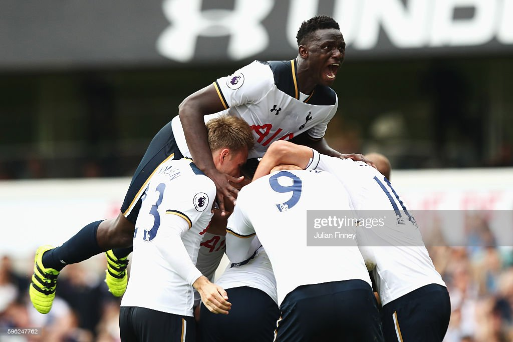 Victor Wanyama of Tottenham Hotspur celebrates after his team mate scores the first goal for their side during the Premier League match between Tottenham Hotspur and Liverpool at White Hart Lane on August 27, 2016 in London, England.