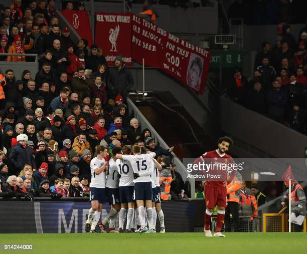 Victor Wanyama of Tottenham Hotspur celebrates after scoring during the Premier League match between Liverpool and Tottenham Hotspur at Anfield on...