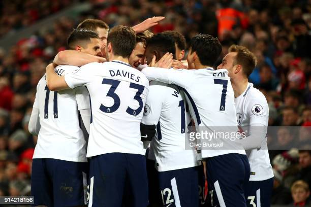 Victor Wanyama of Tottenham Hotspur celebrates after scoring his sides first goal with his team mates during the Premier League match between...