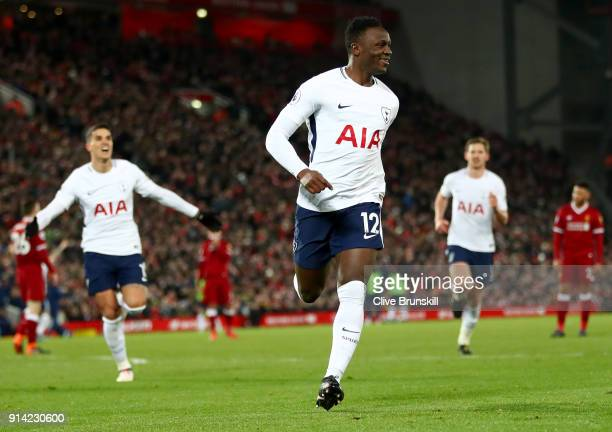 Victor Wanyama of Tottenham Hotspur celebrates after scoring his sides first goal during the Premier League match between Liverpool and Tottenham...