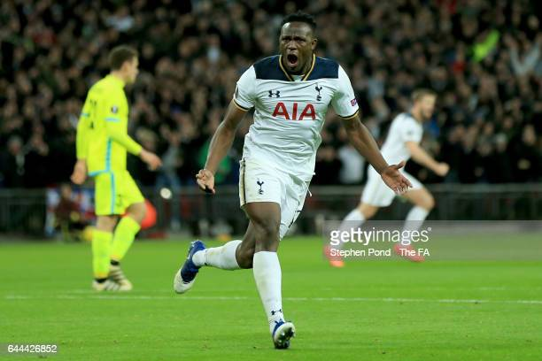 Victor Wanyama of Tottenham Hotspur celebrates as he scores their second goal during the UEFA Europa League Round of 32 second leg match between...
