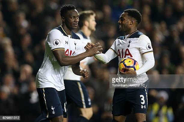 Victor Wanyama of Tottenham Hotspur celebrates scoring his sides first goal with Danny Rose of Tottenham Hotspur during the Premier League match...