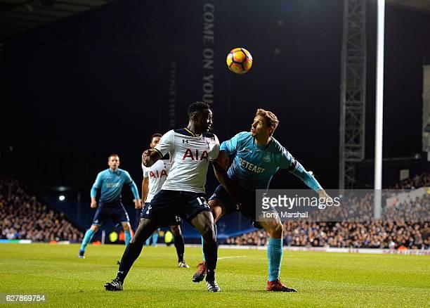 Victor Wanyama of Tottenham Hotspur challenges Fernando Llorente of Swansea City during the Premier League match between Tottenham Hotspur and...