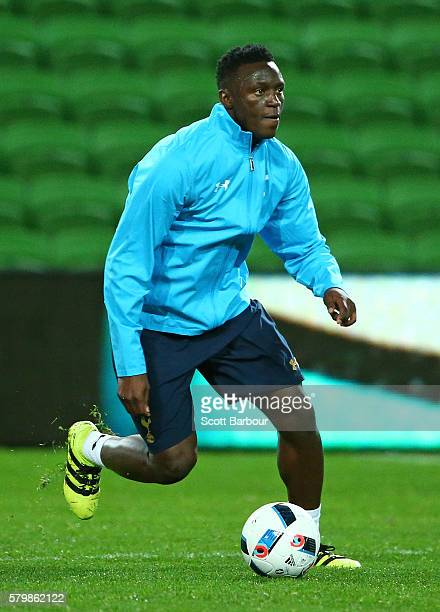 Victor Wanyama of Tottenham Hotspur competes for the ball during a Tottenham Hotspur training session at AAMI Park on July 25 2016 in Melbourne...