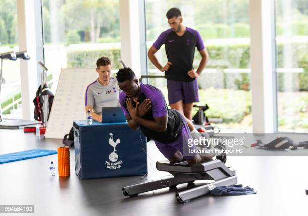 Victor Wanyama of Tottenham Hotspur during pre season training at Tottenham Hotspur Training Centre on July 9 2018 in Enfield England
