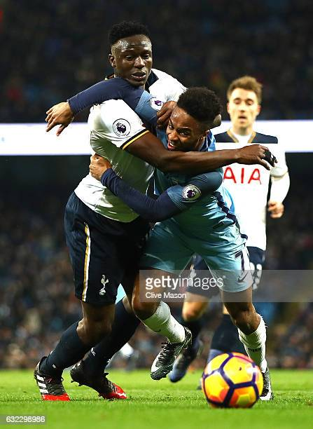 Victor Wanyama of Tottenham Hotspur fouls by Raheem Sterling of Manchester City during the Premier League match between Manchester City and Tottenham...