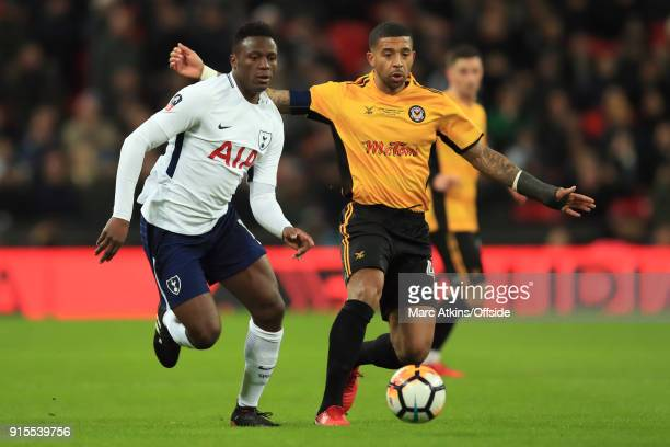 Victor Wanyama of Tottenham Hotspur in action with Joss Labadie of Newport County during the FA Cup Fourth Round replay between Tottenham Hotspur and...
