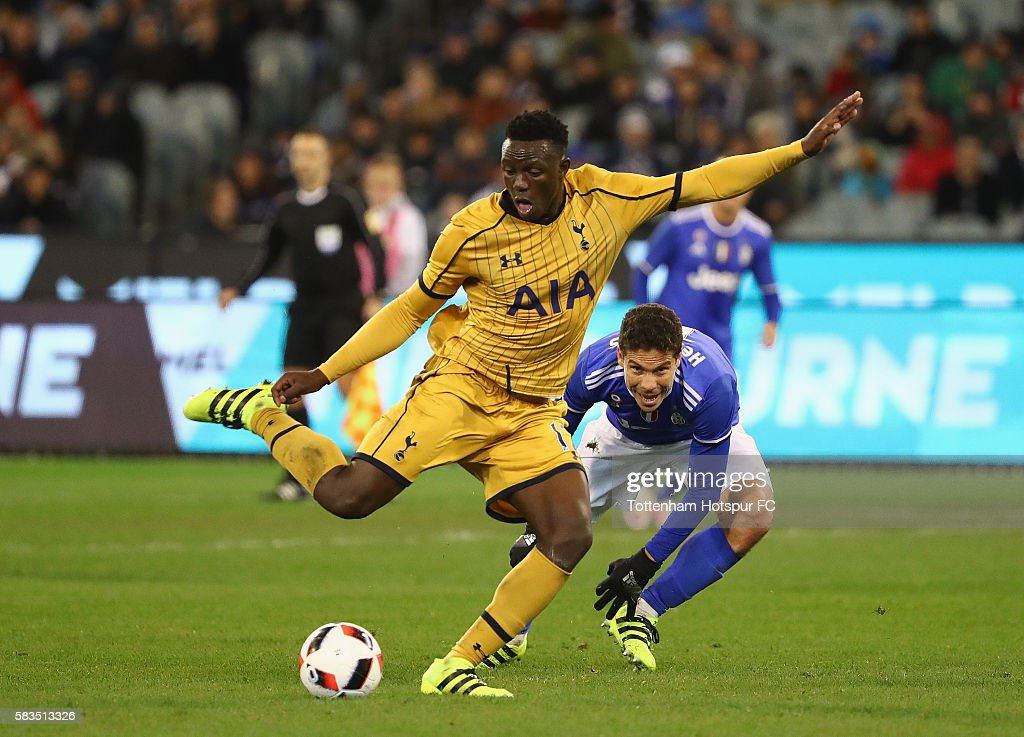 Victor Wanyama of Tottenham Hotspur kicks the ball during the 2016 International Champions Cup match between Juventus FC and Tottenham Hotspur at Melbourne Cricket Ground on July 26, 2016 in Melbourne, Australia.