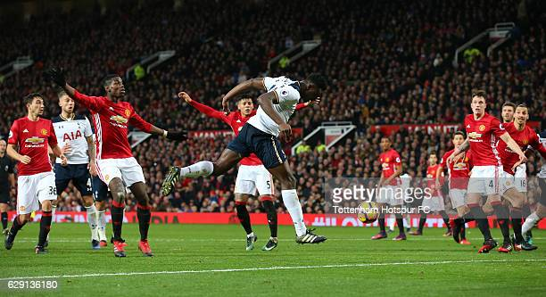 Victor Wanyama of Tottenham Hotspur misses a chance during the Premier League match between Manchester United and Tottenham Hotspur at Old Trafford...
