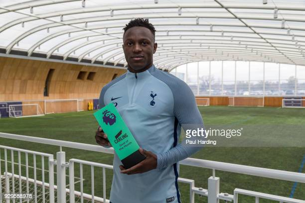 Victor Wanyama of Tottenham Hotspur poses with the trophy for Carling Premier League Goal of the Month for February 2018 at on March 8 2018 in...