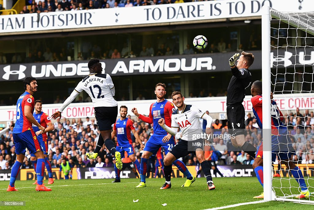 Victor Wanyama of Tottenham Hotspur scores his sides first goal past Wayne Hennessey of Crystal Palace during the Premier League match between Tottenham Hotspur and Crystal Palace at White Hart Lane on August 20, 2016 in London, England.
