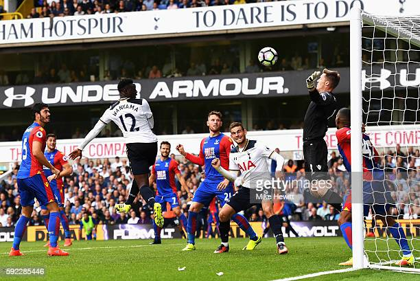 Victor Wanyama of Tottenham Hotspur scores his sides first goal past Wayne Hennessey of Crystal Palace during the Premier League match between...