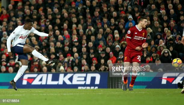 Victor Wanyama of Tottenham Hotspur scores his sides first goal during the Premier League match between Liverpool and Tottenham Hotspur at Anfield on...