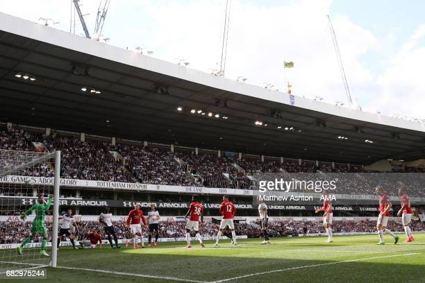 Victor Wanyama of Tottenham Hotspur scores the first goal to make the score 10 during the Premier League match between Tottenham Hotspur and...