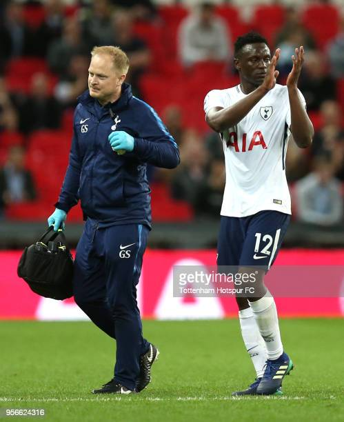 Victor Wanyama of Tottenham Hotspur shows appreciation to the fans as he is subbed during the Premier League match between Tottenham Hotspur and...
