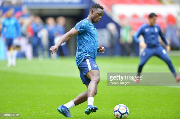 Victor Wanyama of Tottenham Hotspur warms up ahead of the Premier League match between Tottenham Hotspur and Leicester City at Wembley Stadium on May...