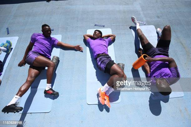 Victor Wanyama, Serge Aurier and Moussa Sissoko of Tottenham Hotspur during the Tottenham Hotspur training session at Real Madrid Training Complex on...