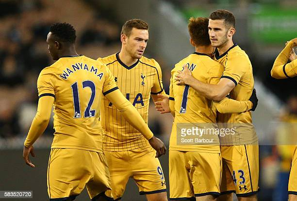 Victor Wanyama Vincent Janssen and Dominic Ball of Tottenham Hotspur embrace during the 2016 International Champions Cup match between Juventus FC...
