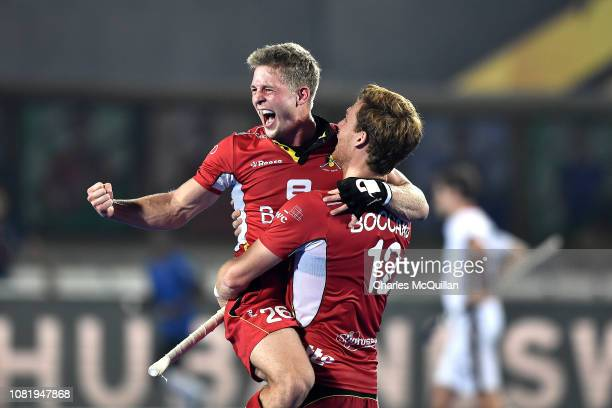 Victor Wegnez of Belgium celebrates during the FIH Men's Hockey World Cup quarter final match between Germany and Belgium at Kalinga Stadium on...