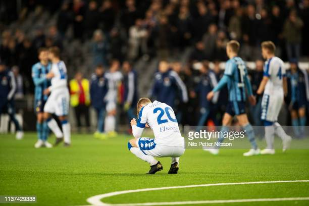Victor Wernersson of IFK Goteborg is dejected after the Allsvenskan match between Djurgardens IF and IFK Goteborg at Tele2 Arena on April 15 2019 in...