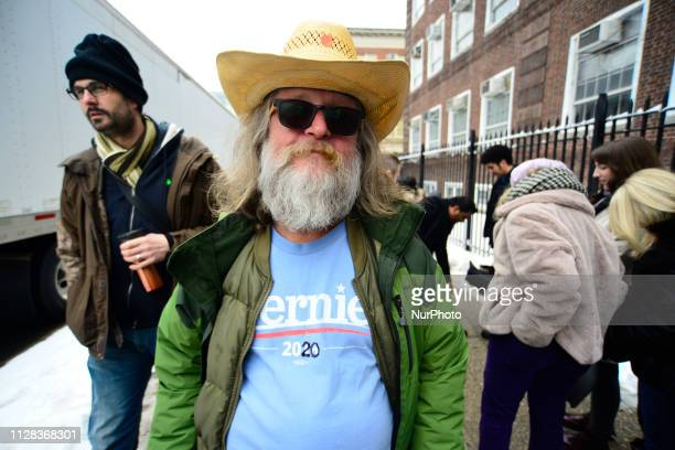Victor Witmeier of Manhattan NY manually changed the logo on his shirt to reflect the support for Bernie Sanders 2020 campaign at the kickoff rally...