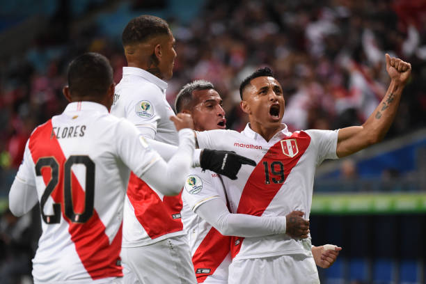 Victor Yotun of Peru celebrates Peru's second goal during the Copa America Brazil 2019 Semi Final match between Chile and Peru at Arena do Gremio on...