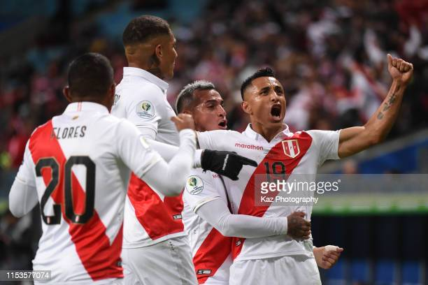 Victor Yotun of Peru celebrates Peru's second goal during the Copa America Brazil 2019 Semi Final match between Chile and Peru at Arena do Gremio on...