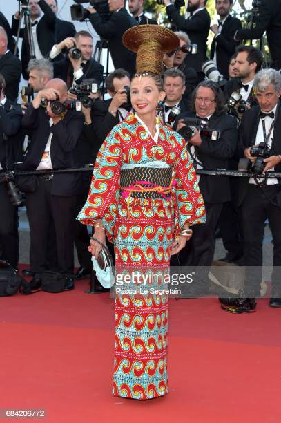 Victoria Abril attends the 'Ismael's Ghosts ' screening and Opening Gala during the 70th annual Cannes Film Festival at Palais des Festivals on May...