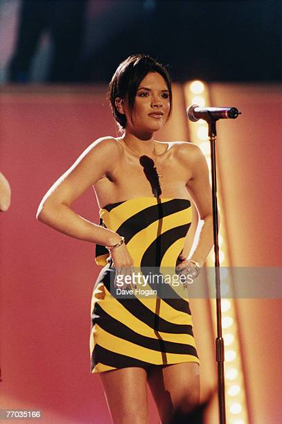 Victoria Adams, aka Posh Spice, later Victoria Beckham, of English pop group the Spice Girls, at the Brit Awards in London, 10th February 1998.