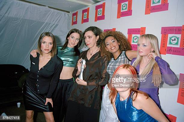 English pop group the Spice Girls with a winner at the British Fashion Awards held at the Royal Albert Hall in London 22nd October 1996