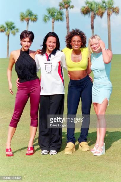 Victoria Adams, Melanie Chisholm, Melanie Brown and Emma Bunton of The Spice Girls pose in Miami in 1996.