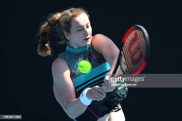 Victoria Allen of Great Britain plays a backhand in her first round Junior Girls' Singles match against Sada Nahimana of Burundi during day six of...