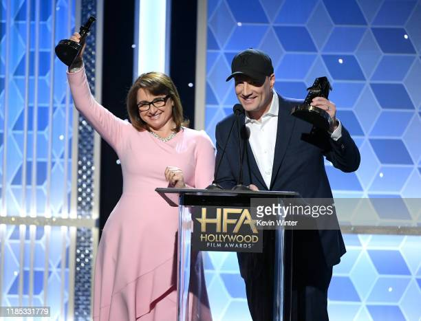 Victoria Alonso and Kevin Feige accept the Hollywood Blockbuster Award onstage during the 23rd Annual Hollywood Film Awards at The Beverly Hilton...