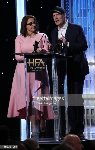Victoria Alonso and Kevin Feige appear on stage at the 23rd Annual Hollywood Film Awards show at The Beverly Hilton Hotel on November 03, 2019 in...