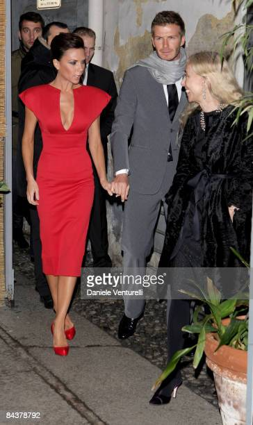 Victoria and David Beckham and Franca Sozzani attend the 'My Sky HD Wears Fendi' cocktail party as part of Milan Fashion Week Autumn/Winter 2009/2010...