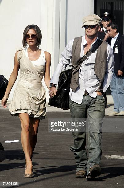 Victoria and David Beckham arrive during the ninth day of the 63rd Venice Film Festival on September 7 2006 in Venice Italy