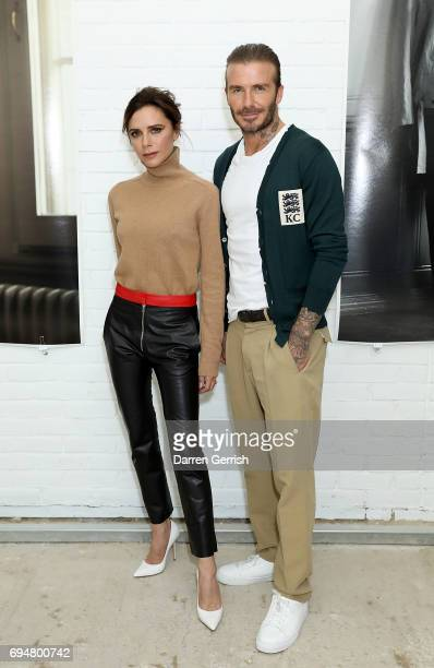 Victoria and David Beckham attend the Kent Curwen SS18 LFWM Presentation on June 11 2017 in London England