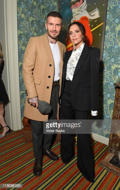 Victoria and David Beckham attend the Victoria Beckham x YouTube Fashion Beauty After Party at London Fashion Week hosted by Derek Blasberg and David...