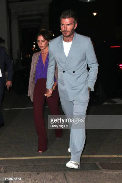 Victoria and David Beckham seen attending Victoria Beckham - dinner at Harry's bar during LFW September 2019 on September 15, 2019 in London, England.